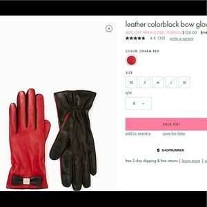 NWT- Kate Spade leather colorblock bow gloves $158